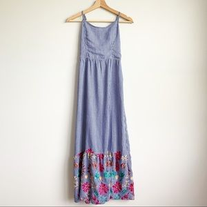 Nauty Blue Pinstripe Maxi Dress Floral Embroider S